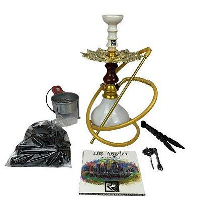 Kit Narguile Completo Amazon Hookah - Branco/Marrom e Dourado/Branco + Brinde