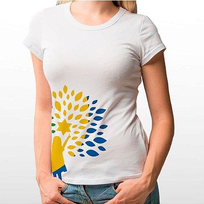 Camiseta Feminina Baby Look Branca Com Símbolo Republicanos