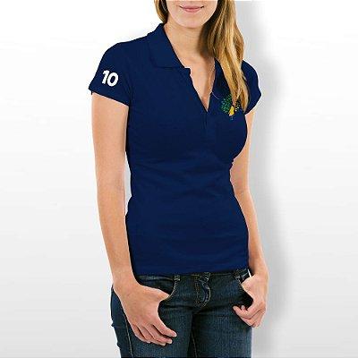 Camisa Polo Baby Look Azul Marinho