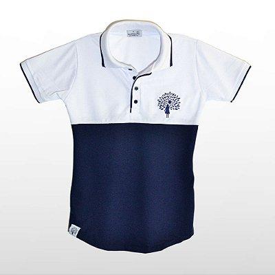 Camiseta Feminina Polo Longline, Azul e Branco