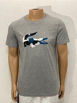 Lacoste Camiseta Cinza Crocodilo Grande