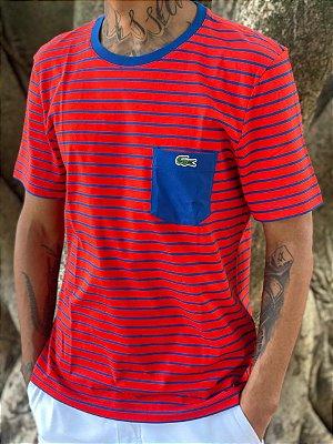 Lacoste Camiseta Live Listrada com Bolso