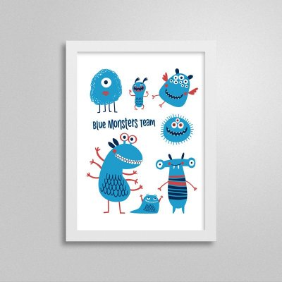 Quadro Decorativo Blue Monsters Team