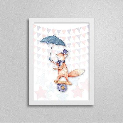 Quadrinho Circo - Raposa equilibrista e seu guarda-chuva