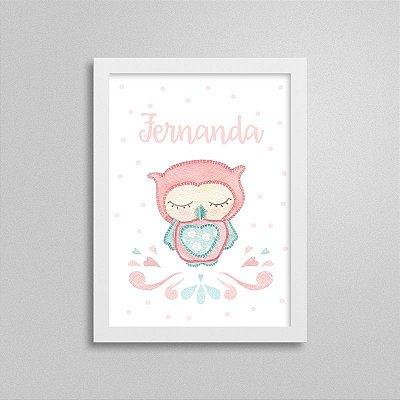 Quadro decorativo Sweet Baby Girl - Corujinha - Nome Personalizado