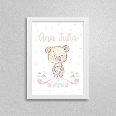 Quadro decorativo Sweet Baby Girl - Ursinho - Nome Personalizado