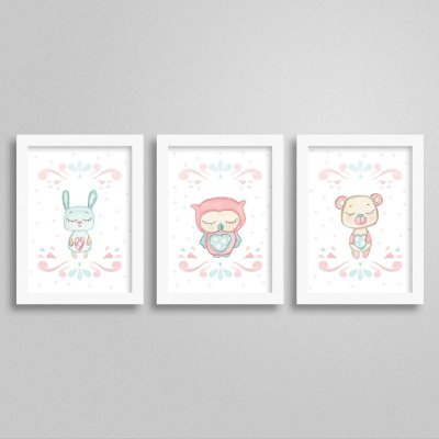 Quadros decorativos Sweet Baby Girl - Kit 3