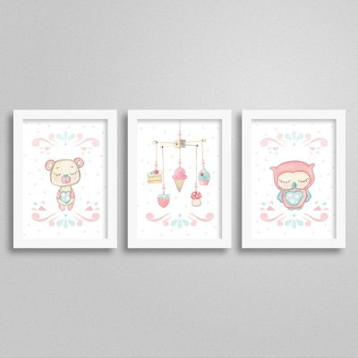 Quadros decorativos Sweet Baby Girl - Kit 4