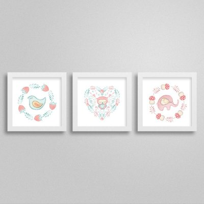Quadros decorativos Sweet Baby Girl - Kit 6