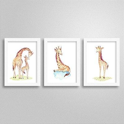 Kit Quadros Bichinhos Fofinhos - Girafa