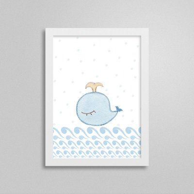 Quadro decorativo Sweet Baby Boy - Baleia