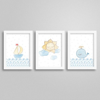 Quadros decorativos Sweet Baby Boy - Kit 4