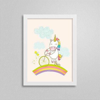 Quadro Unicórnio Quarto Bebê - Bicicleta