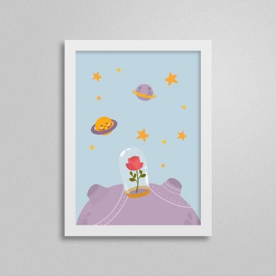 Quadro Pequeno Príncipe Quarto de Bebê - Rosa