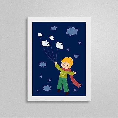 Quadro Pequeno Príncipe Quarto de Menino - Pássaros