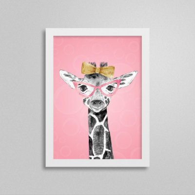 Quadro Quarto de Menina Safari - Girafa