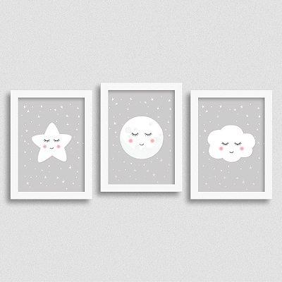 Kit de Quadro Estrela Lua e Nuvem Decoração Quarto Infantil