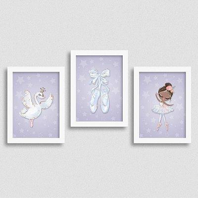 Quadro Balé e Bailarina - Kit White Swan 3