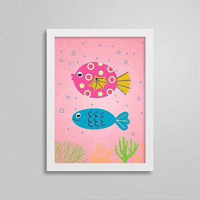 Quadro Decorativo Peixinhos Rosa e Azul