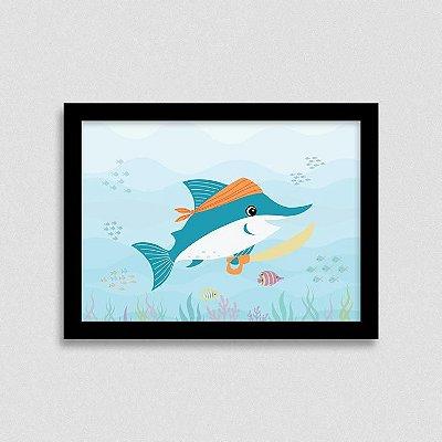 Quadro Bichinhos Fundo do Mar - Tubarão