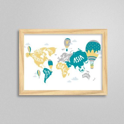 Quadro Aventura e Diversão - Mapa Mundi