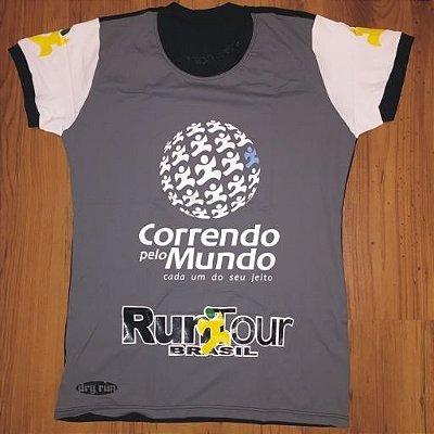 CAMISETA CORRENDO PELO MUNDO - LINHA DRY-RUN - 100% POLIAMIDA - FEMININA BABY LOOK - CINZA/PRETO - TAM. P