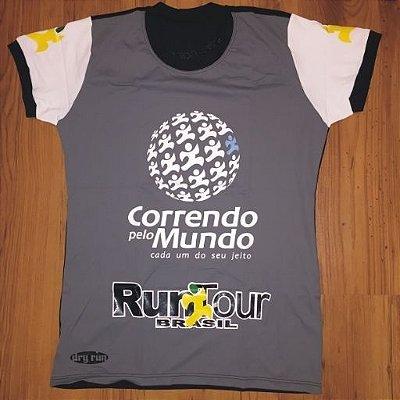 CAMISETA CORRENDO PELO MUNDO - LINHA DRY-RUN - 100% POLIAMIDA - FEMININA BABY LOOK - CINZA/PRETO - TAM. M