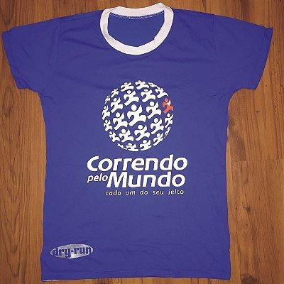 CAMISETA CORRENDO PELO MUNDO - LINHA DRY-RUN - 100% POLIAMIDA - FEMININA BABY LOOK - AZUL ROYAL - TAM. P