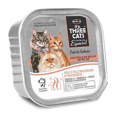 Patê Hercosul Three Cats Controle de Bolas de Pelos para Gatos Adultos Sabor Salmão