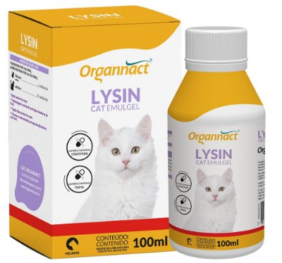 Suplemento Alimentar Organnact Lysin Cat Emulgel 100ml