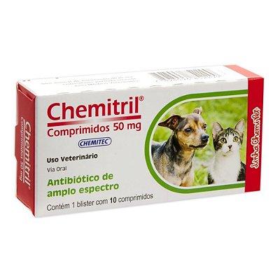 Medicamento Chemitril Para Cães E Gatos - 10 Comprimidos - 50mg
