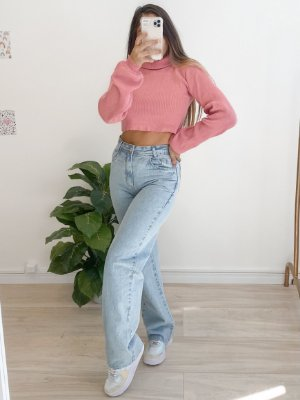 cropped tricô crush rosa
