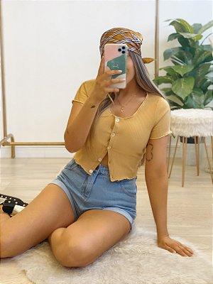 blusa cropped honey amarela