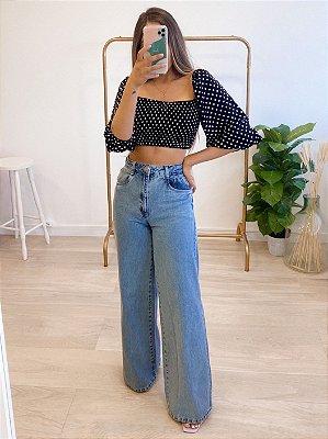 calça jeans pantalona carmel