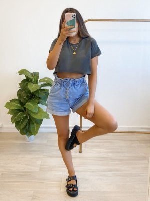 t-shirt cropped basic chumbo