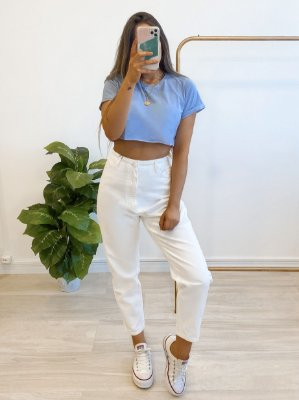 t-shirt cropped basic azul