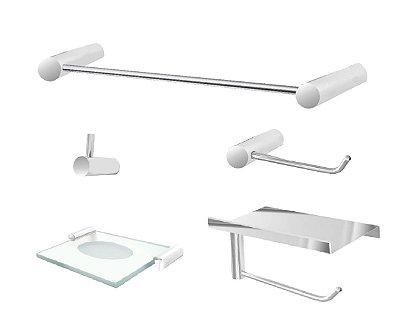 kit para banheiro com suporte para acessórios aço inox e metal 101CP Grego Metal
