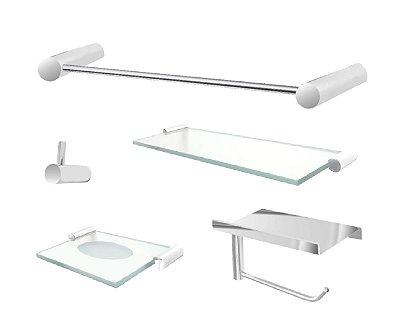 Kit de acessórios banheiro com suporte aço inox e metal 102CP Grego Metal