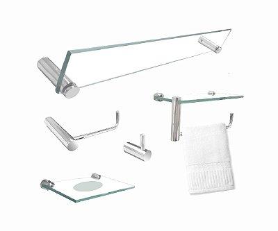 Kit banheiro 5 peças com toalheiro suporte de acessórios 202RT Grego Metal