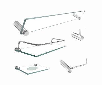 Kit para Banheiro de vidro com prateleira proteção 5 peças 204RT Grego Metal