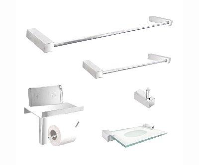 Kit acessórios banheiro com suporte aço inox 5 peças 303DC Grego Metal
