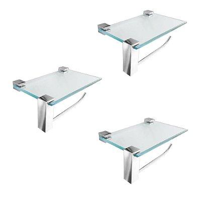 Porta Toalha Vidro Suporte Acessórios Kit 3 Peças Vitralle 411VT3 Grego Metal