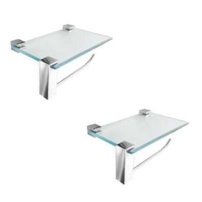 Papeleira em Vidro Suporte Acessórios Kit 2 Peças Vitralle 412VT2 Grego Metal