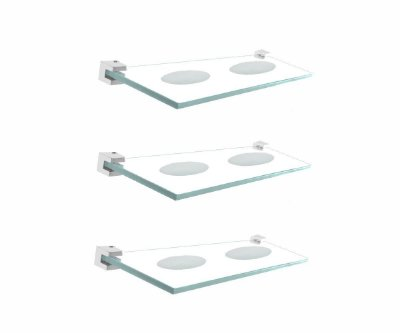 Saboneteira dupla de vidro kit com 3 peças 416VT3 Grego Metal