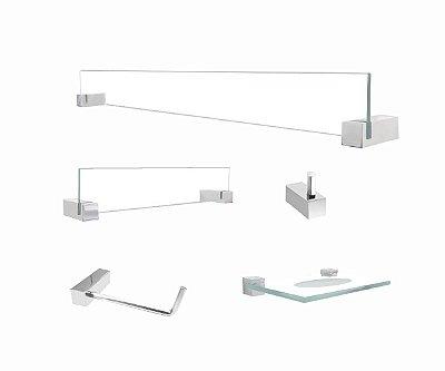 Kit acessórios de vidro produtos para banheiro 5 peças 400VT Grego Metal