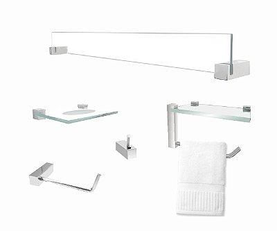 Kit acessórios conjunto para banheiro com suporte toalha 402VT Grego Metal