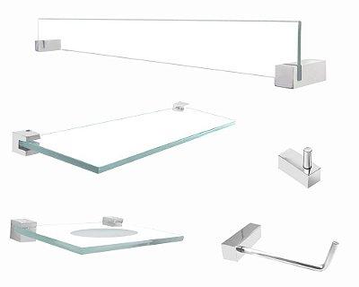 Kit acessório parede de vidro banheiro 5 peças Vitralle 403VT Grego Metal