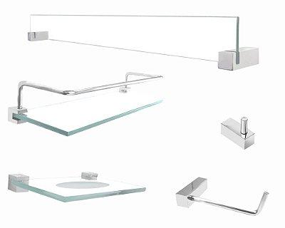 Kit de acessórios parede banheiro 5 peças Vitralle 404VT Grego Metal