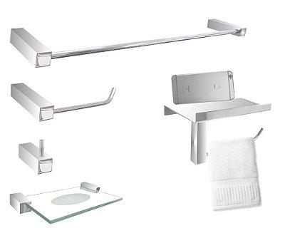 Acessórios para banheiro com suporte em aço inox Grego Metal 304DCA