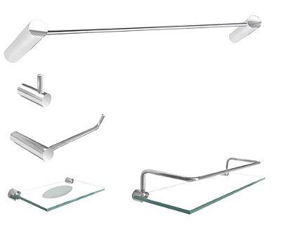 Jogo acessórios para banheiro 5 peças aço inox metal Slim 501SL Grego Metal